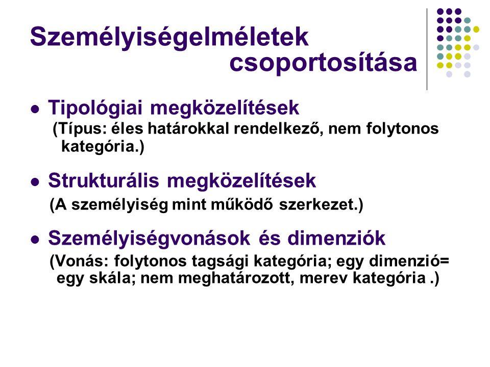 Személyiségelméletek csoportosítása Tipológiai megközelítések (Típus: éles határokkal rendelkező, nem folytonos kategória.) Strukturális megközelítések (A személyiség mint működő szerkezet.) Személyiségvonások és dimenziók (Vonás: folytonos tagsági kategória; egy dimenzió= egy skála; nem meghatározott, merev kategória.)
