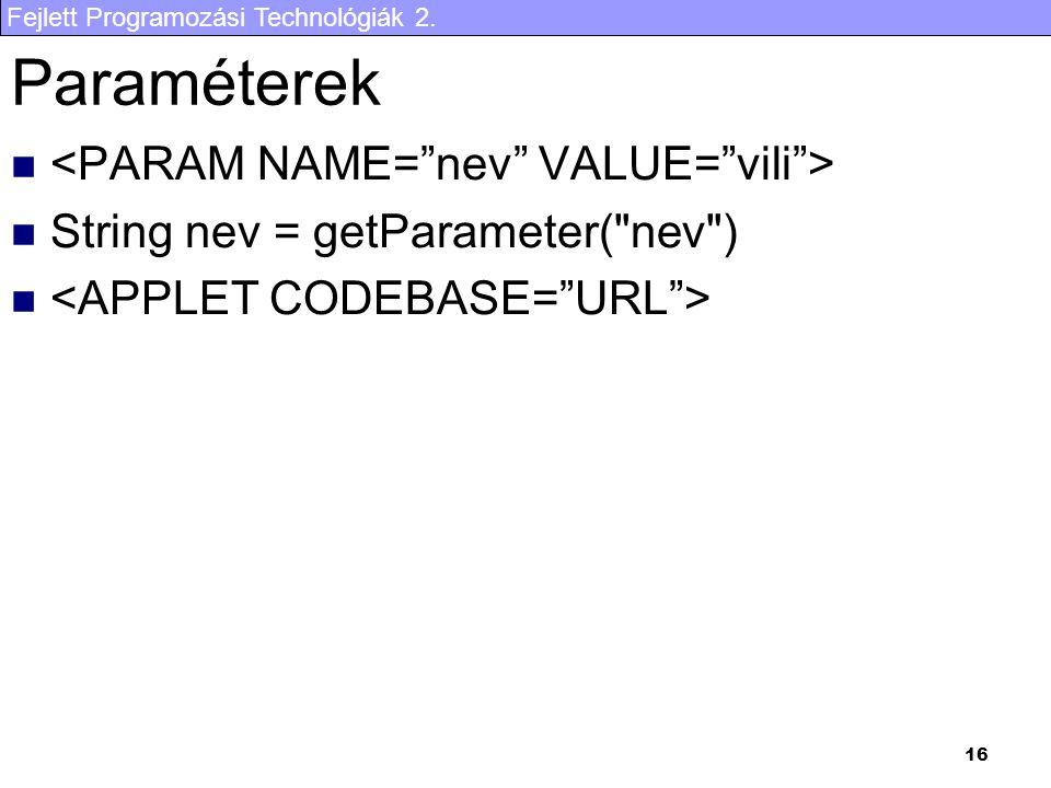 Fejlett Programozási Technológiák 2. 16 Paraméterek String nev = getParameter( nev )