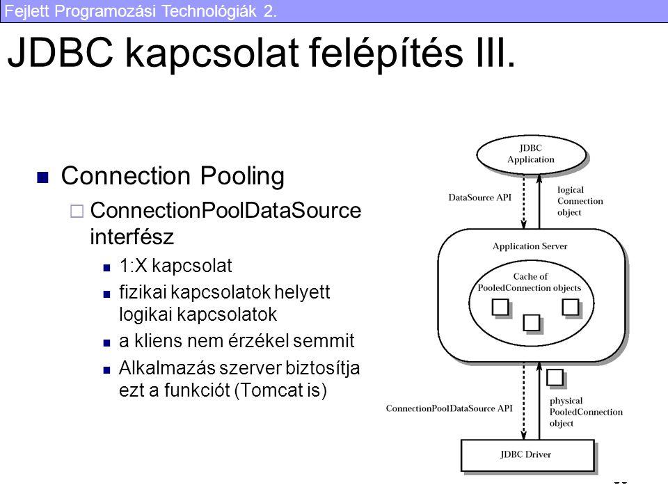 Fejlett Programozási Technológiák 2. 30 JDBC kapcsolat felépítés III.