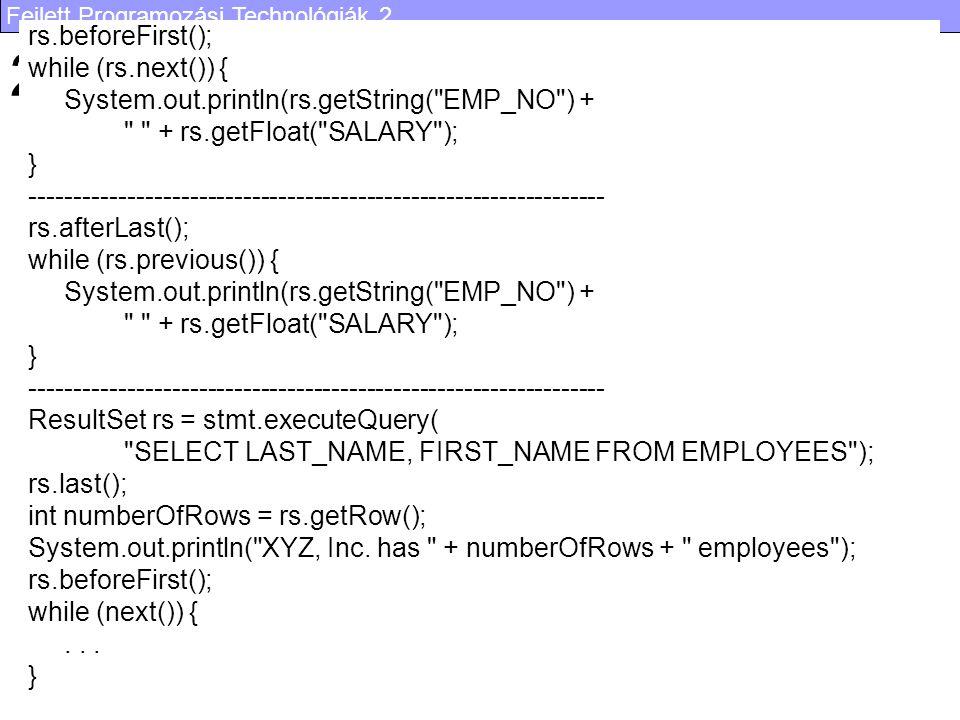 Fejlett Programozási Technológiák 2. 54 2.