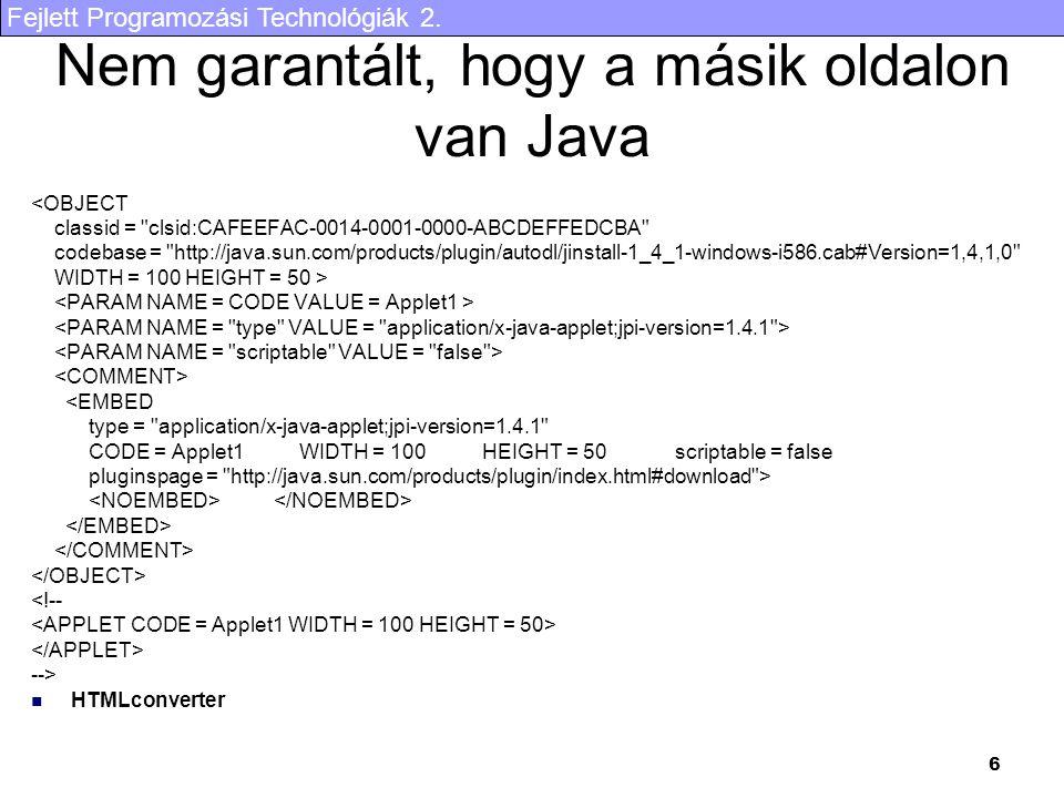 Fejlett Programozási Technológiák 2.27 JDBC kapcsolat felépítés I.