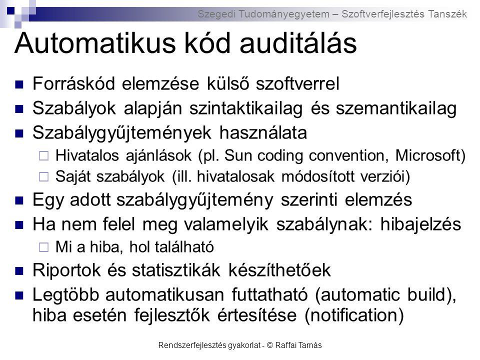 Szegedi Tudományegyetem – Szoftverfejlesztés Tanszék Rendszerfejlesztés gyakorlat - © Raffai Tamás Automatikus kód auditálás Forráskód elemzése külső