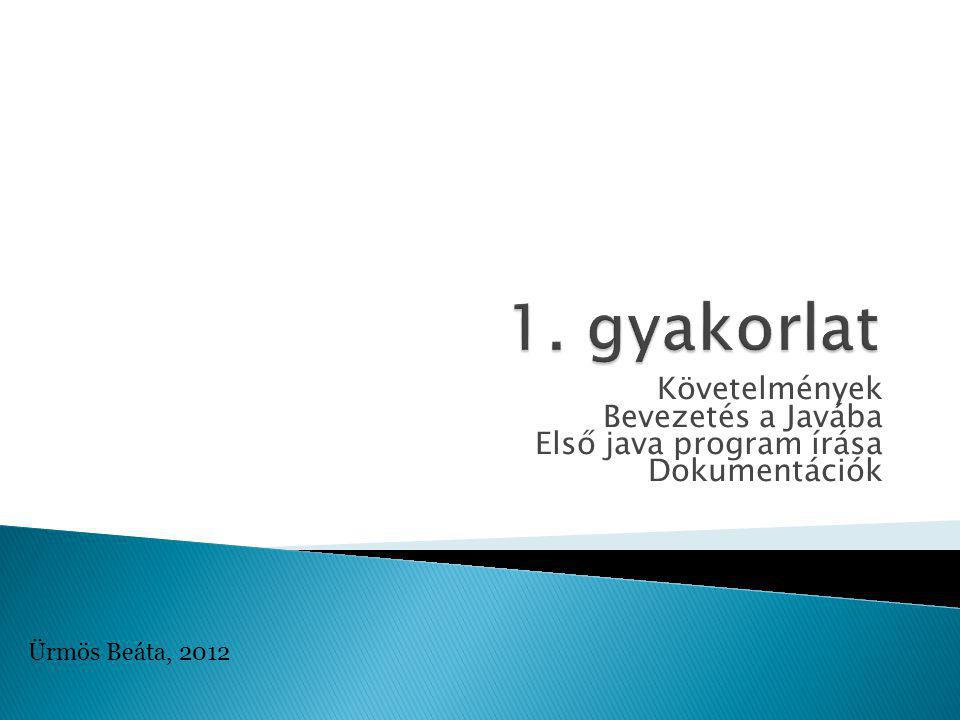 Követelmények Bevezetés a Javába Első java program írása Dokumentációk Ürmös Beáta, 2012