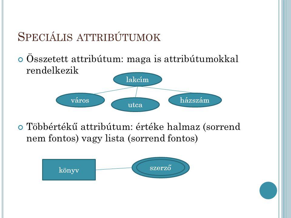 S PECIÁLIS ATTRIBÚTUMOK Összetett attribútum: maga is attribútumokkal rendelkezik Többértékű attribútum: értéke halmaz (sorrend nem fontos) vagy lista