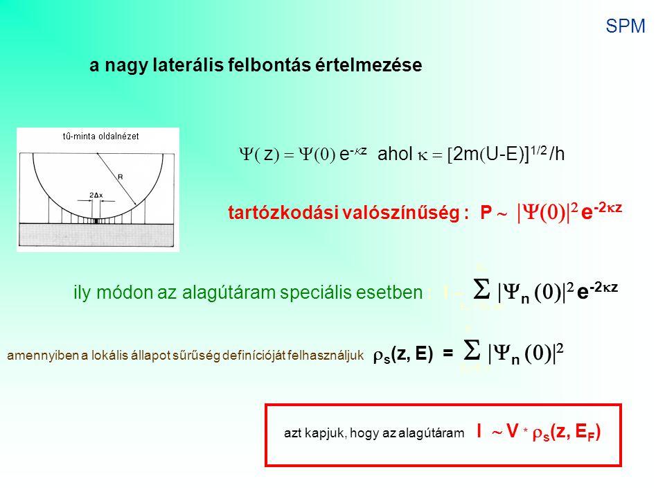 a nagy laterális felbontás értelmezése  z  e -  z ahol  2m  U-E)] 1/2 /h tartózkodási valószínűség : P     e -2  z ily