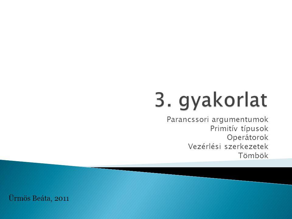 Parancssori argumentumok Primitív típusok Operátorok Vezérlési szerkezetek Tömbök Ürmös Beáta, 2011