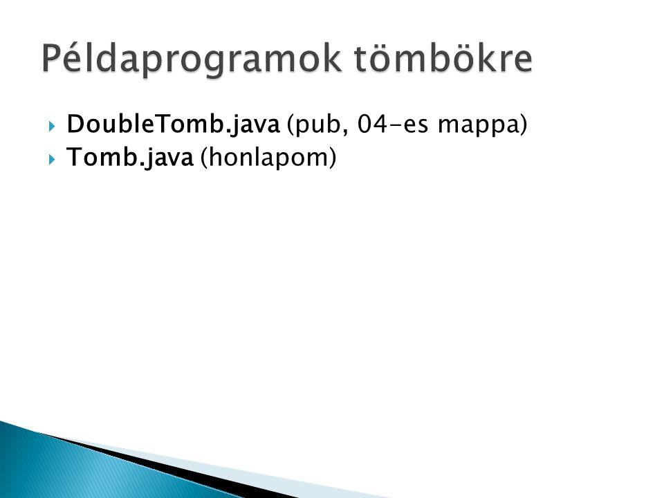  DoubleTomb.java (pub, 04-es mappa)  Tomb.java (honlapom)