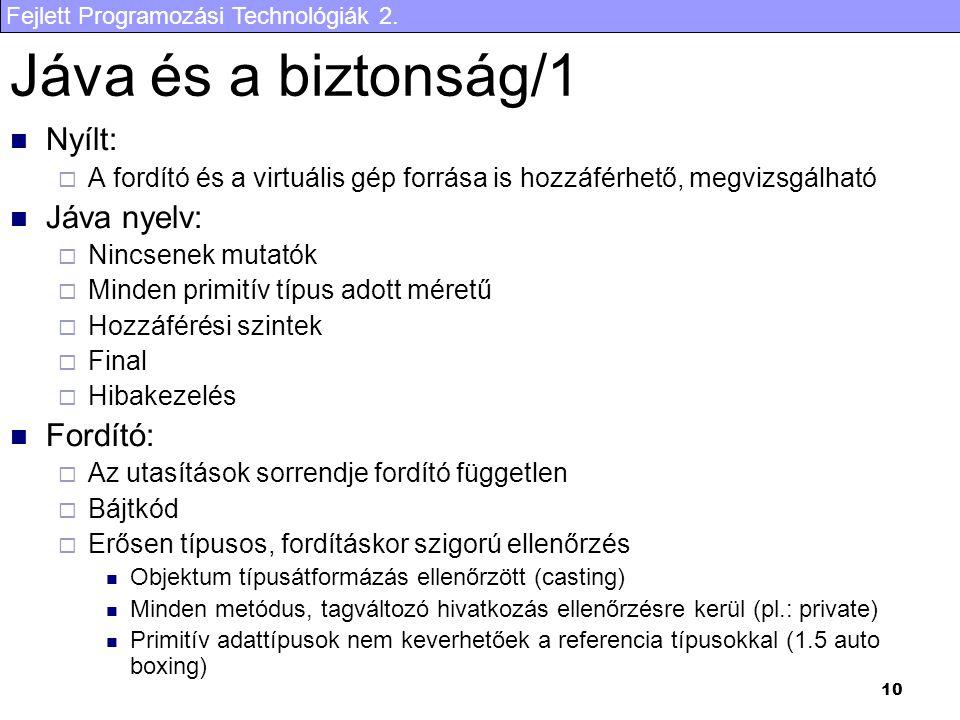 Fejlett Programozási Technológiák 2. 10 Jáva és a biztonság/1 Nyílt:  A fordító és a virtuális gép forrása is hozzáférhető, megvizsgálható Jáva nyelv