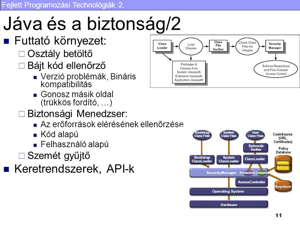 Fejlett Programozási Technológiák 2. 11 Jáva és a biztonság/2 Futtató környezet:  Osztály betöltő  Bájt kód ellenőrző Verzió problémák, Bináris komp