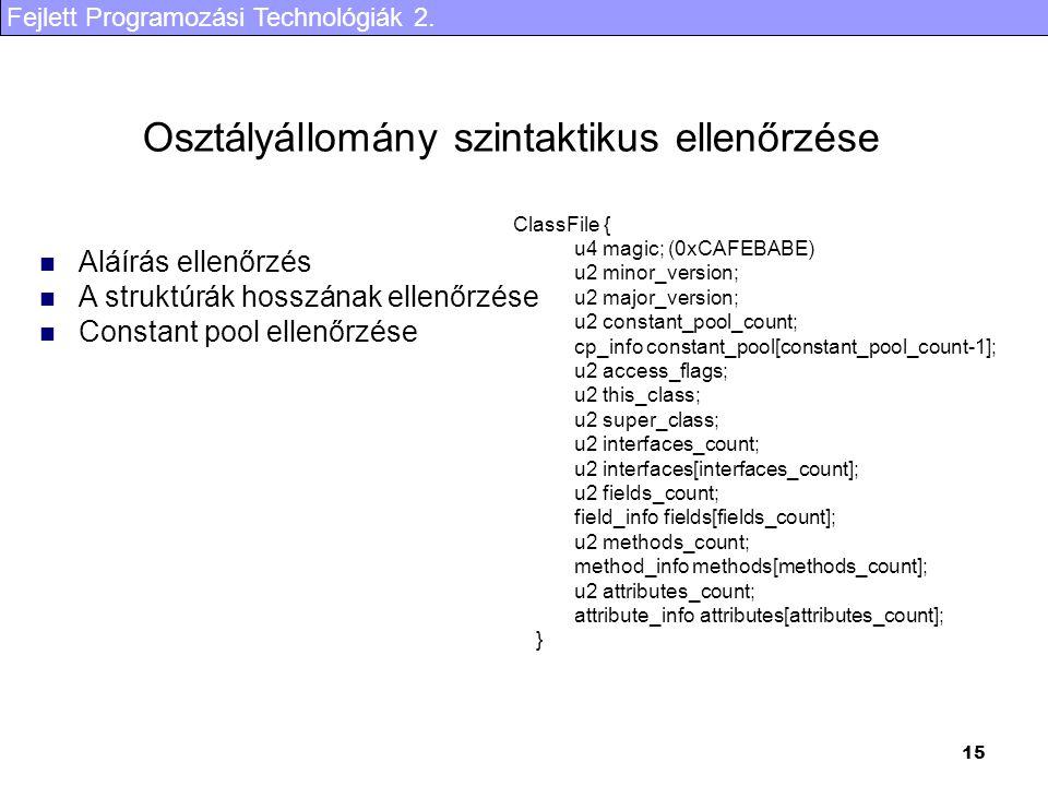 Fejlett Programozási Technológiák 2. 15 Osztályállomány szintaktikus ellenőrzése ClassFile { u4 magic; (0xCAFEBABE) u2 minor_version; u2 major_version