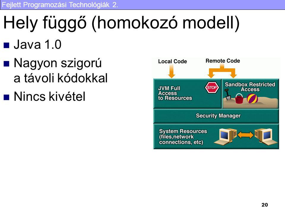 Fejlett Programozási Technológiák 2. 20 Hely függő (homokozó modell) Java 1.0 Nagyon szigorú a távoli kódokkal Nincs kivétel