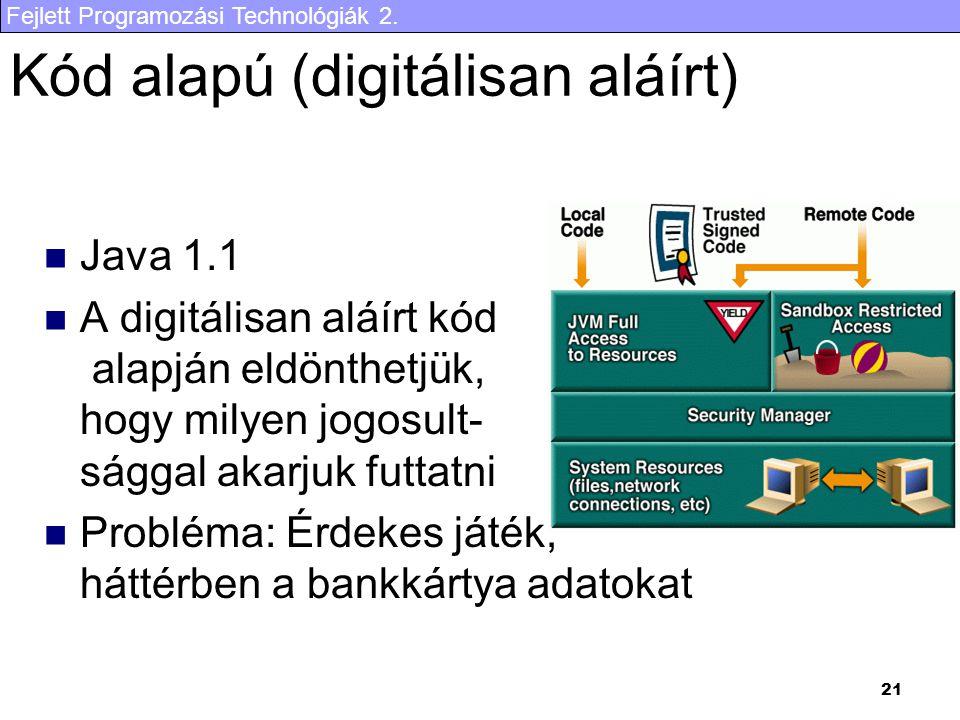 Fejlett Programozási Technológiák 2. 21 Kód alapú (digitálisan aláírt) Java 1.1 A digitálisan aláírt kód alapján eldönthetjük, hogy milyen jogosult- s