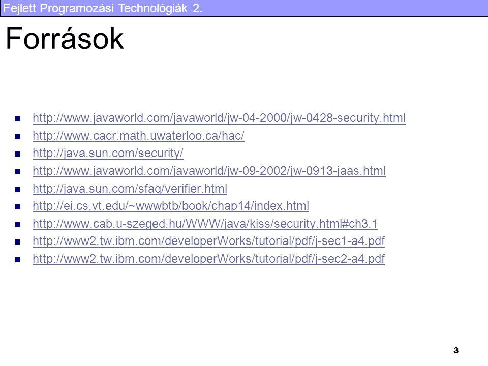 Fejlett Programozási Technológiák 2. 3 Források http://www.javaworld.com/javaworld/jw-04-2000/jw-0428-security.html http://www.cacr.math.uwaterloo.ca/