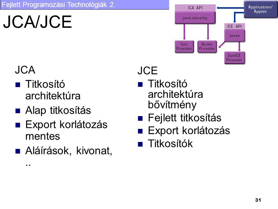 Fejlett Programozási Technológiák 2. 31 JCA/JCE JCA Titkosító architektúra Alap titkosítás Export korlátozás mentes Aláírások, kivonat,.. JCE Titkosít
