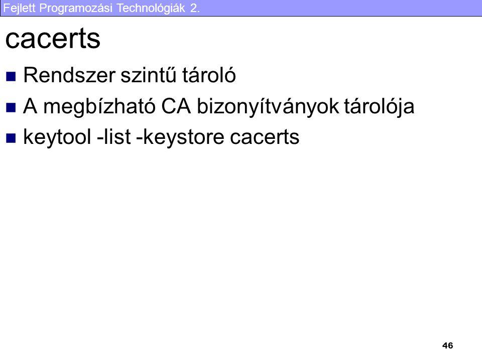 Fejlett Programozási Technológiák 2. 46 cacerts Rendszer szintű tároló A megbízható CA bizonyítványok tárolója keytool -list -keystore cacerts