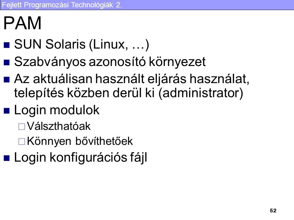 Fejlett Programozási Technológiák 2. 52 PAM SUN Solaris (Linux, …) Szabványos azonosító környezet Az aktuálisan használt eljárás használat, telepítés