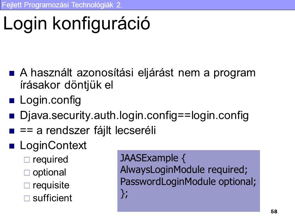Fejlett Programozási Technológiák 2. 58 Login konfiguráció A használt azonosítási eljárást nem a program írásakor döntjük el Login.config Djava.securi