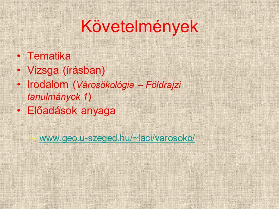 Követelmények Tematika Vizsga (írásban) Irodalom ( Városökológia – Földrajzi tanulmányok 1 ) Előadások anyaga –www.geo.u-szeged.hu/~laci/varosoko/www.geo.u-szeged.hu/~laci/varosoko/
