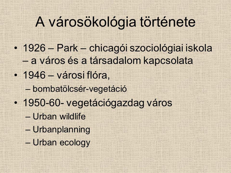 A városökológia története 1926 – Park – chicagói szociológiai iskola – a város és a társadalom kapcsolata 1946 – városi flóra, –bombatölcsér-vegetáció 1950-60- vegetációgazdag város –Urban wildlife –Urbanplanning –Urban ecology
