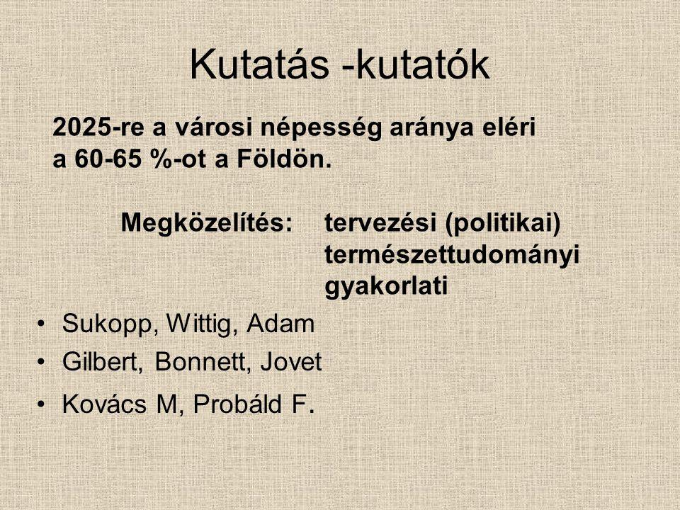 Kutatás -kutatók Sukopp, Wittig, Adam Gilbert, Bonnett, Jovet Kovács M, Probáld F.