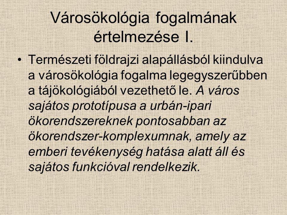 Városökológia fogalmának értelmezése II.