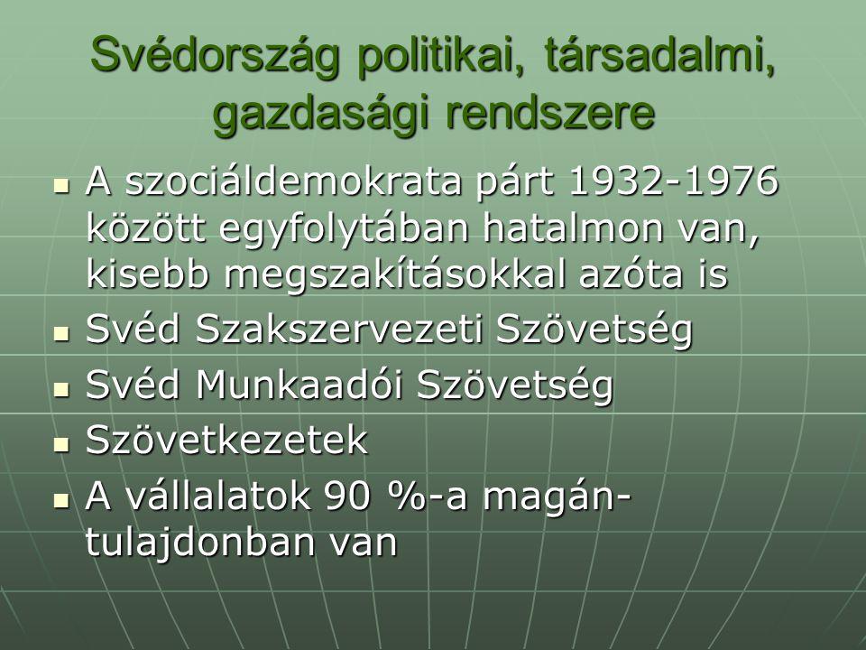 A gazdasági fejlődés szakaszai Stabilizáció 1932-1950-es évek közepe, a válság hatásaként keynesi gazdaságpolitika, társadalmi konszenzus Stabilizáció 1932-1950-es évek közepe, a válság hatásaként keynesi gazdaságpolitika, társadalmi konszenzus A Rehn – Meidner modell kialakulása a '60-as évek közepéig A Rehn – Meidner modell kialakulása a '60-as évek közepéig A '70-es évek elejéig a kiegyenlítettebb jövedelemelosztást tűzték ki célul A '70-es évek elejéig a kiegyenlítettebb jövedelemelosztást tűzték ki célul 1990-ig jelentős recessziók sora 1990-ig jelentős recessziók sora 1990-től a svéd modell kisebb kiigazítása 1990-től a svéd modell kisebb kiigazítása