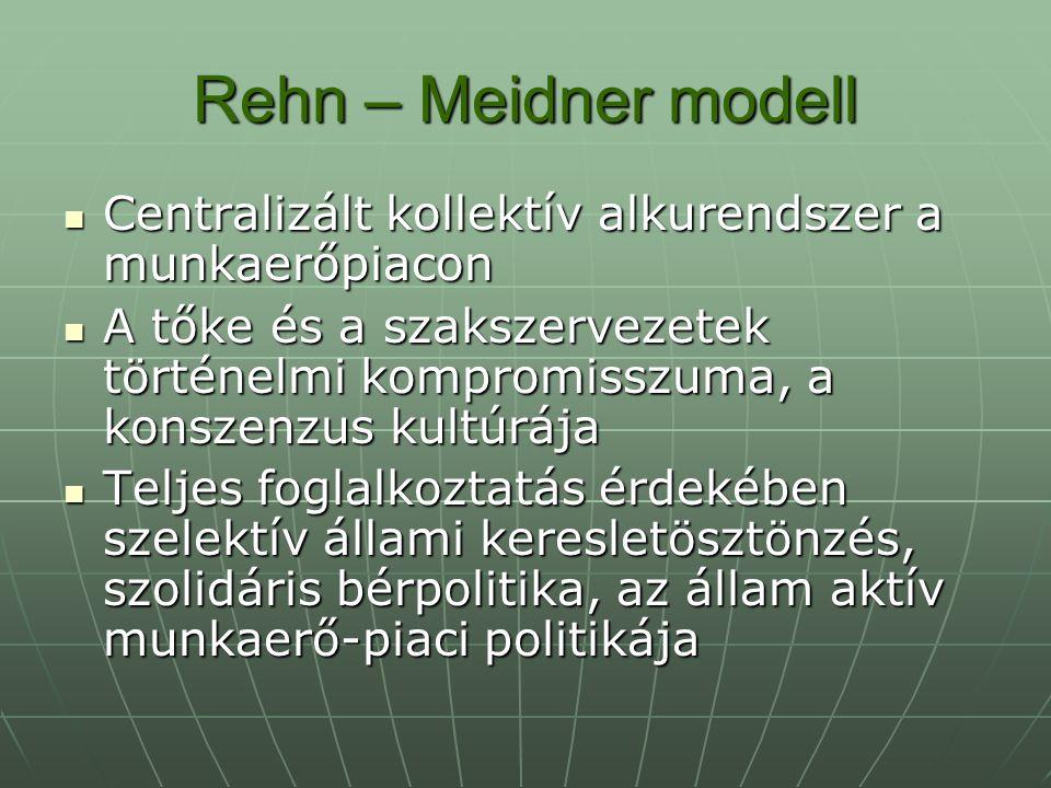 Rehn – Meidner modell A szociális szolgáltatásokat a közületi szektor nyújtja A szociális szolgáltatásokat a közületi szektor nyújtja Univerzalizmus Univerzalizmus Tudományos társadalomirányítás Tudományos társadalomirányítás Korporatizmus Korporatizmus Centralizáció Centralizáció Nemek közötti egyenlőség Nemek közötti egyenlőség