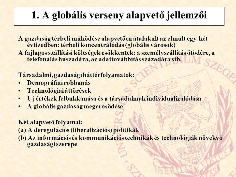 A globális verseny 4 fő folyamata : Mindegyik piacon erősödik a verseny A termelés, gyártás az országok széles körére kiterjed A nemzetközi kereskedelem összetétele is megváltozott Növekszik az összefonódások, összekapcsolódások erőssége → teljesen új helyzet állt elő: új térszerveződés