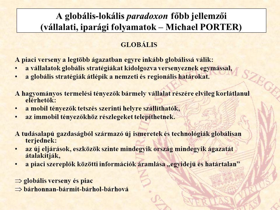 A globális-lokális paradoxon főbb jellemzői (vállalati, iparági folyamatok – Michael PORTER) GLOBÁLIS A piaci verseny a legtöbb ágazatban egyre inkább
