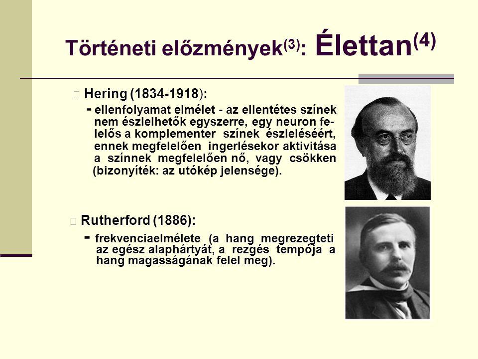 Történeti előzmények (3) : Élettan (4) Hering (1834-1918) Hering (1834-1918): - ellenfolyamat elmélet - az ellentétes színek nem észlelhetők egyszerre