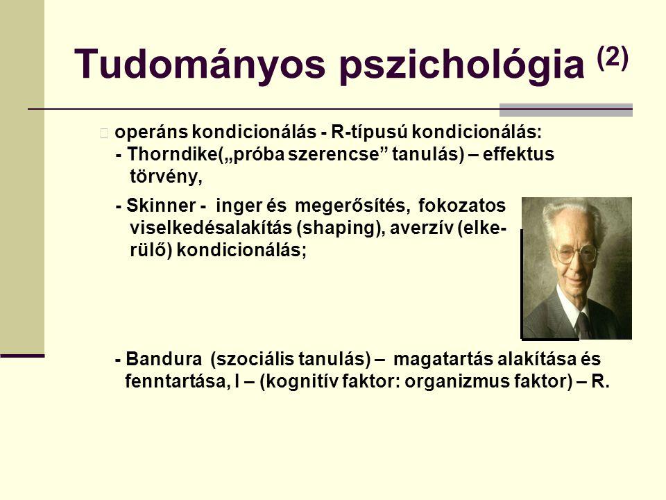 """Tudományos pszichológia (2) operáns kondicionálás - R-típusú kondicionálás: - Thorndike(""""próba szerencse"""" tanulás) – effektus törvény, - Skinner - ing"""
