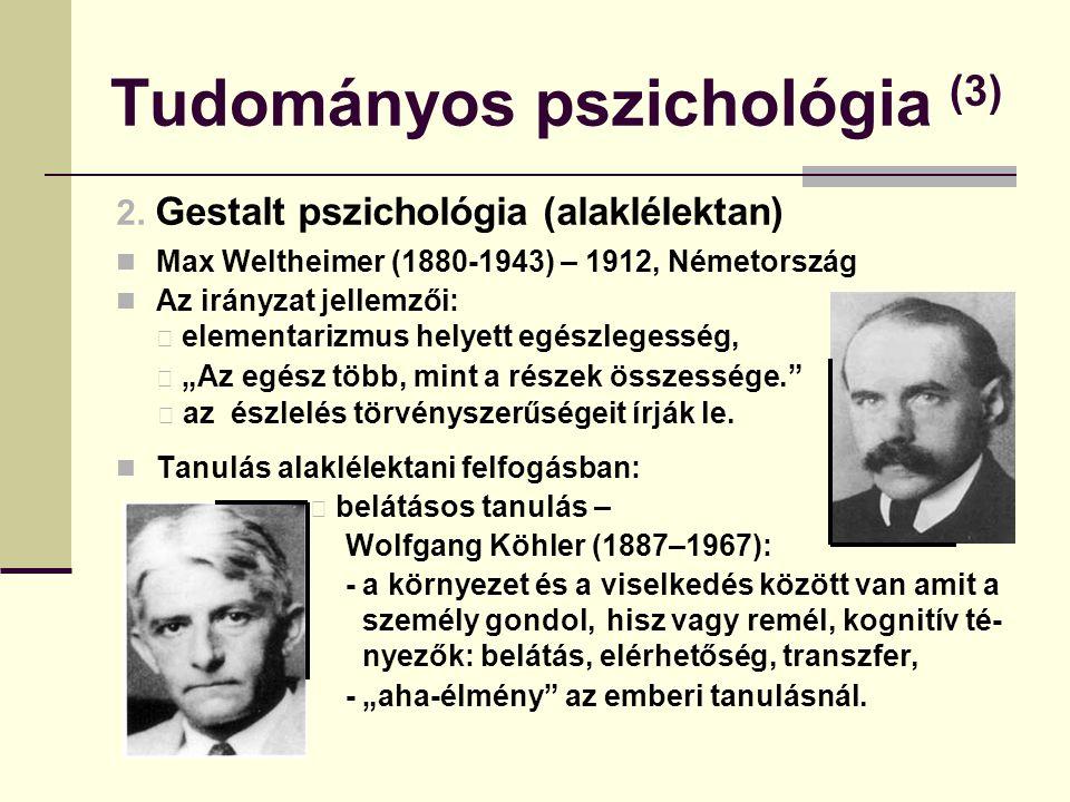 Tudományos pszichológia (3) 2. Gestalt pszichológia (alaklélektan) Max Weltheimer (1880-1943) – 1912, Németország Az irányzat jellemzői: elementarizmu