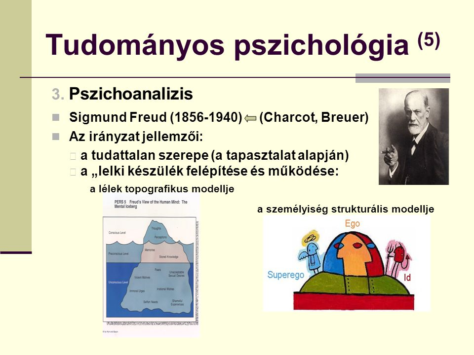 Tudományos pszichológia (5) 3. Pszichoanalizis Sigmund Freud (1856-1940) (Charcot, Breuer) Az irányzat jellemzői: a tudattalan szerepe (a tapasztalat