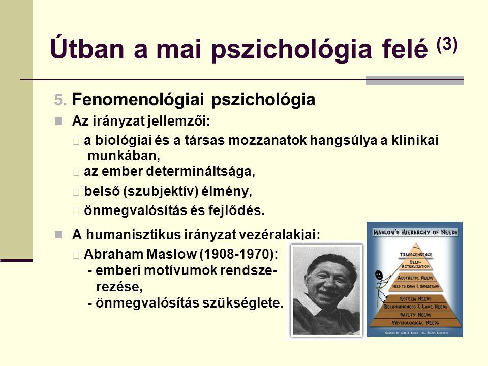 Útban a mai pszichológia felé (3) 5. Fenomenológiai pszichológia Az irányzat jellemzői: a biológiai és a társas mozzanatok hangsúlya a klinikai munkáb