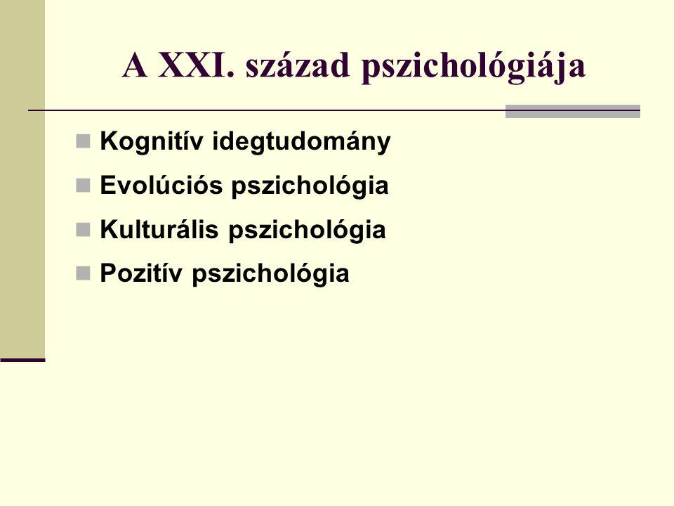 A XXI. század pszichológiája Kognitív idegtudomány Evolúciós pszichológia Kulturális pszichológia Pozitív pszichológia
