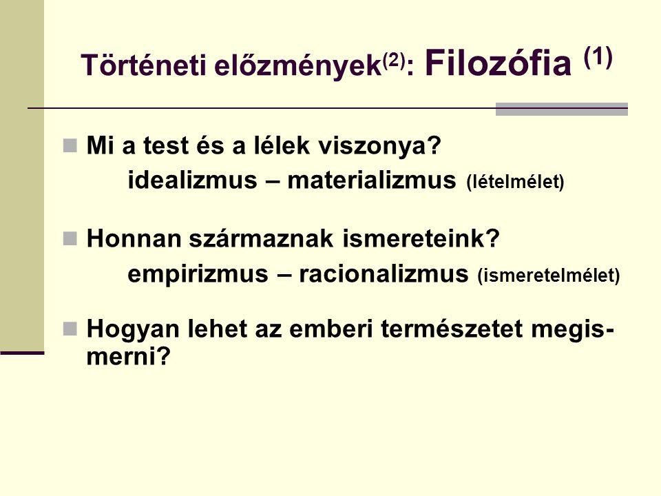 Történeti előzmények (2) : Filozófia (1) Mi a test és a lélek viszonya? idealizmus – materializmus (lételmélet) Honnan származnak ismereteink? empiriz