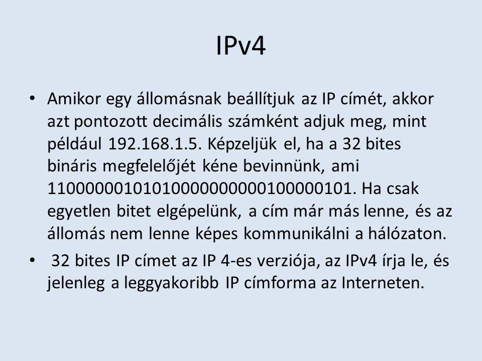 IPv4 Amikor egy állomásnak beállítjuk az IP címét, akkor azt pontozott decimális számként adjuk meg, mint például 192.168.1.5. Képzeljük el, ha a 32 b