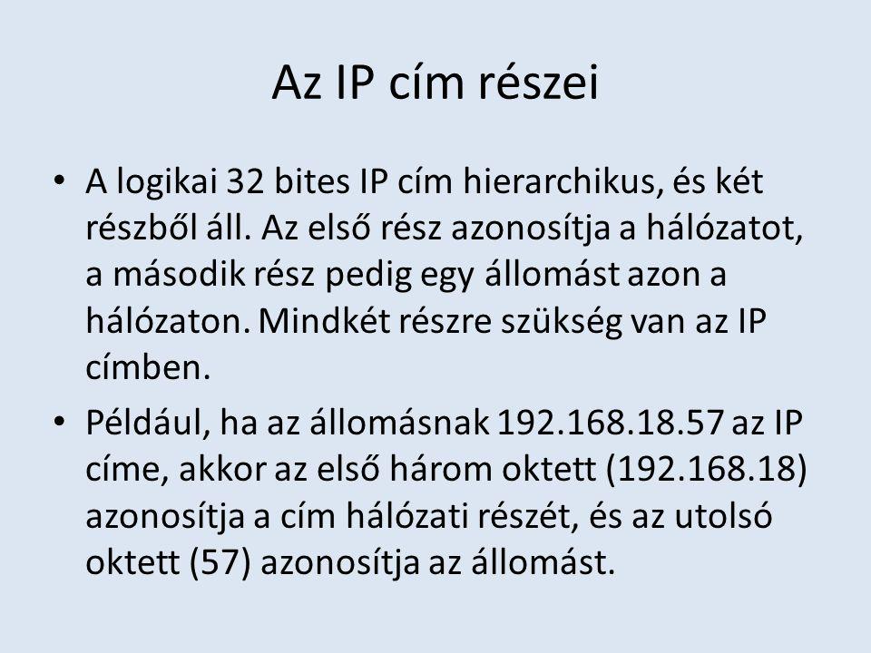 Az IP cím részei A logikai 32 bites IP cím hierarchikus, és két részből áll. Az első rész azonosítja a hálózatot, a második rész pedig egy állomást az