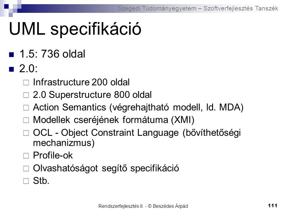 Szegedi Tudományegyetem – Szoftverfejlesztés Tanszék Rendszerfejlesztés II.