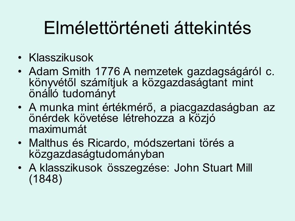 Elmélettörténeti áttekintés Klasszikusok Adam Smith 1776 A nemzetek gazdagságáról c. könyvétől számítjuk a közgazdaságtant mint önálló tudományt A mun
