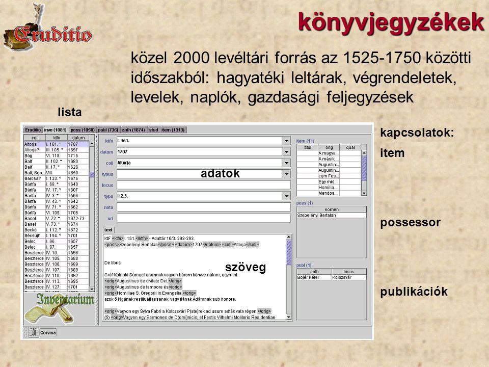 könyvjegyzékek lista adatok szöveg kapcsolatok: item possessor publikációk közel 2000 levéltári forrás az 1525-1750 közötti időszakból: hagyatéki lelt