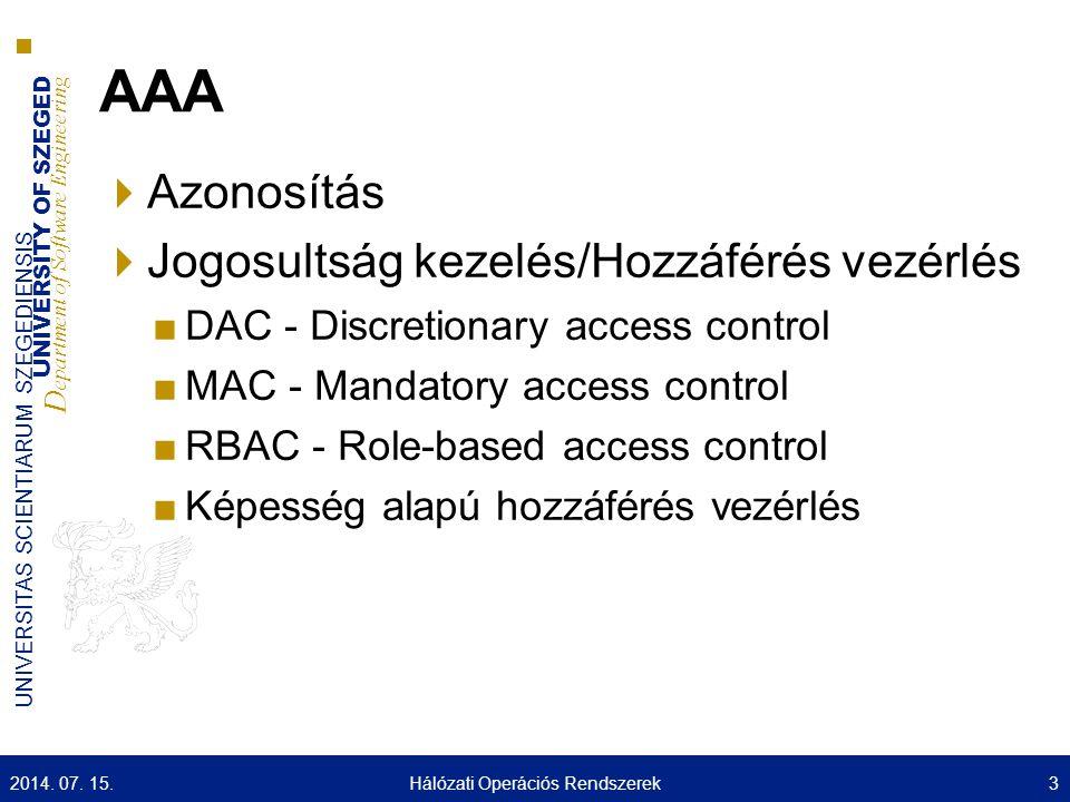 UNIVERSITY OF SZEGED D epartment of Software Engineering UNIVERSITAS SCIENTIARUM SZEGEDIENSIS 24 MIT Athena project ( http://web.mit.edu/kerberos/www/ ) Funkciói (Fejek): Azonosítás (authentication) Hozzáférés vezérlés (access control) Naplózás (auditing) Felépítés: Kliens (Client) Szerver (Server) Jegy központ (KDC) Kerberos V5 (RFC 1510): Azonosítás Kerberos