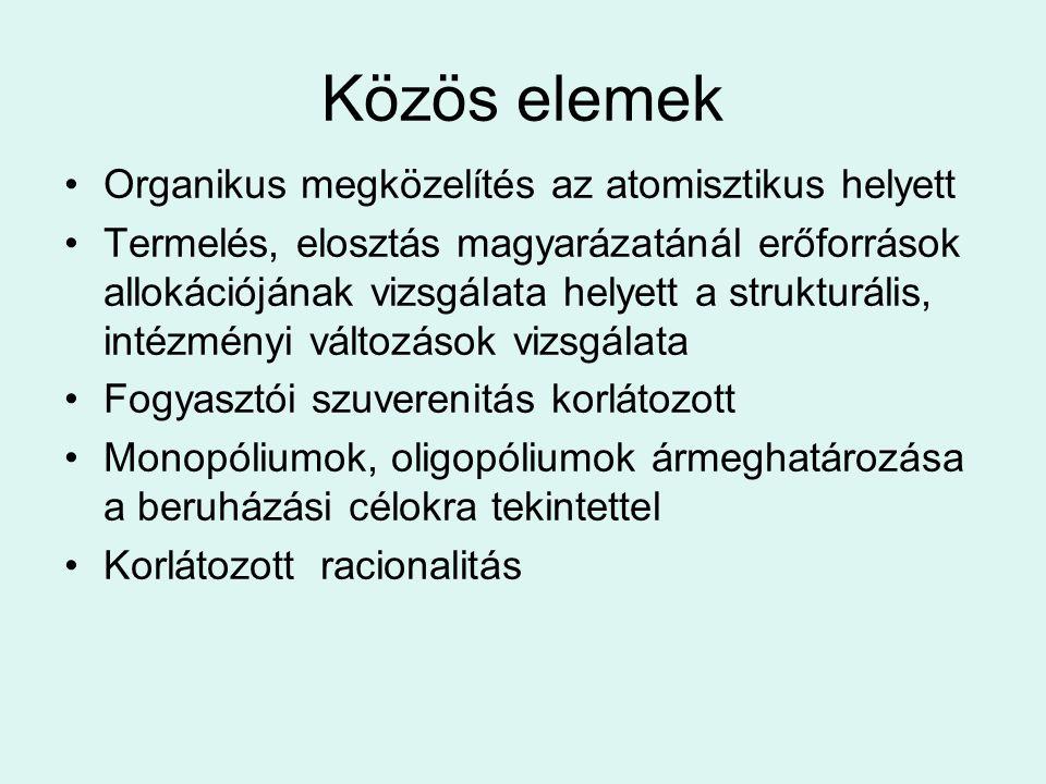 Közös elemek Organikus megközelítés az atomisztikus helyett Termelés, elosztás magyarázatánál erőforrások allokációjának vizsgálata helyett a struktur