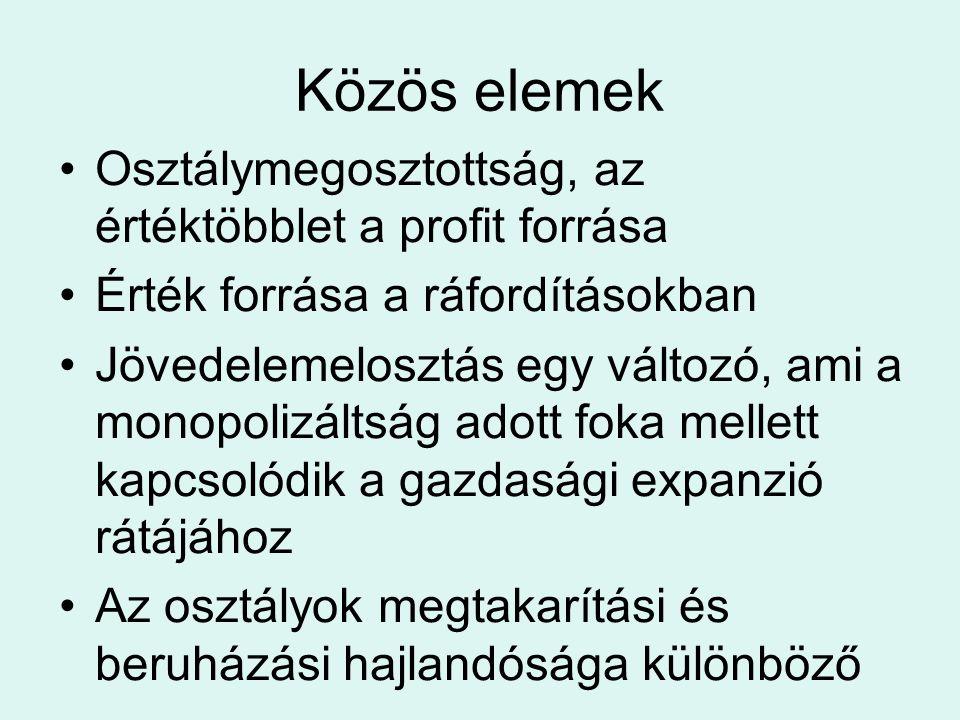 Közös elemek Osztálymegosztottság, az értéktöbblet a profit forrása Érték forrása a ráfordításokban Jövedelemelosztás egy változó, ami a monopolizálts