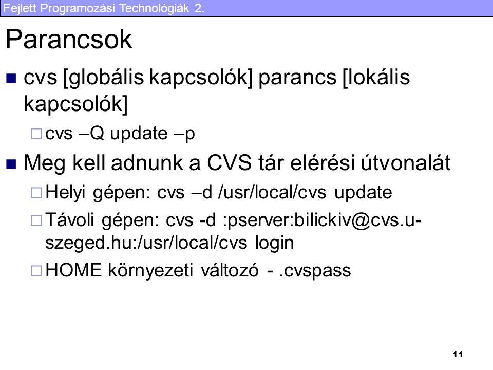 Fejlett Programozási Technológiák 2. 11 Parancsok cvs [globális kapcsolók] parancs [lokális kapcsolók]  cvs –Q update –p Meg kell adnunk a CVS tár el