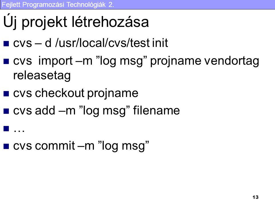 """Fejlett Programozási Technológiák 2. 13 Új projekt létrehozása cvs – d /usr/local/cvs/test init cvs import –m """"log msg"""" projname vendortag releasetag"""