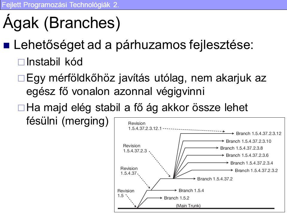 Fejlett Programozási Technológiák 2. 17 Ágak (Branches) Lehetőséget ad a párhuzamos fejlesztése:  Instabil kód  Egy mérföldkőhöz javítás utólag, nem