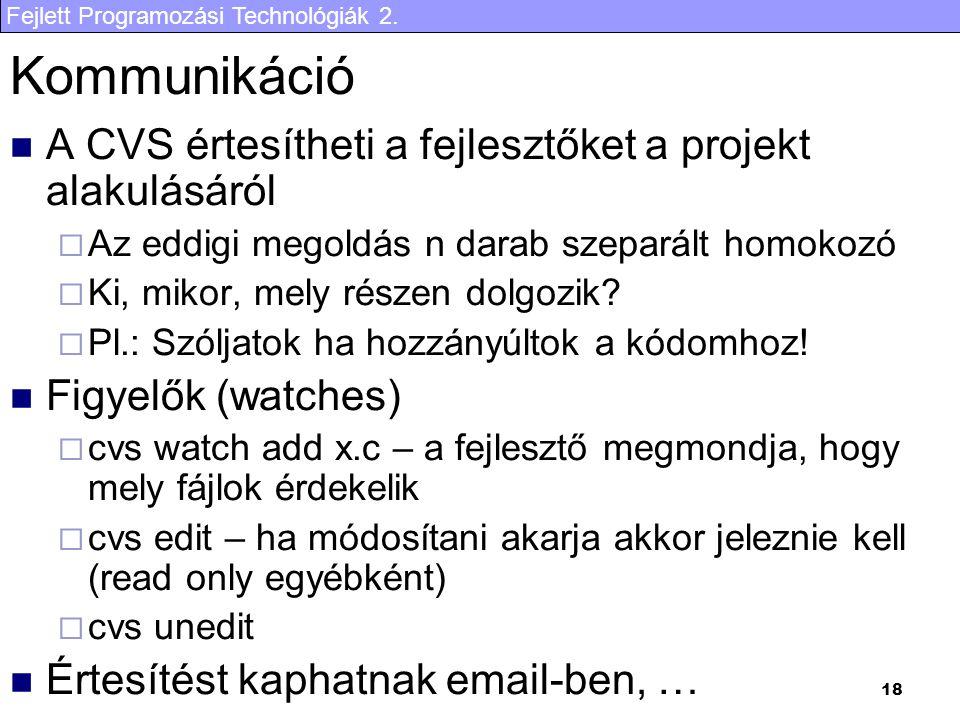Fejlett Programozási Technológiák 2. 18 Kommunikáció A CVS értesítheti a fejlesztőket a projekt alakulásáról  Az eddigi megoldás n darab szeparált ho