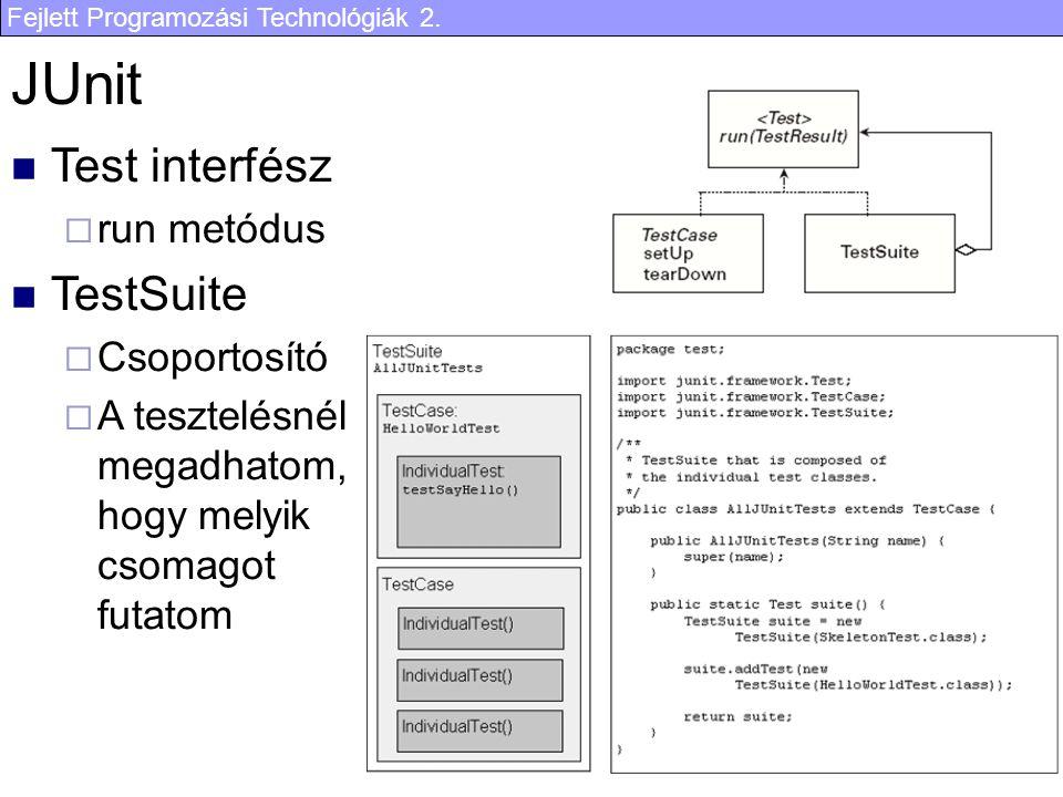 Fejlett Programozási Technológiák 2. 22 JUnit Test interfész  run metódus TestSuite  Csoportosító  A tesztelésnél megadhatom, hogy melyik csomagot
