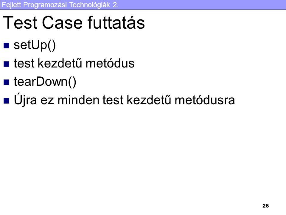 Fejlett Programozási Technológiák 2. 25 Test Case futtatás setUp() test kezdetű metódus tearDown() Újra ez minden test kezdetű metódusra